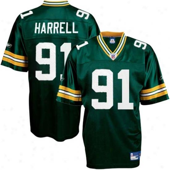 Green Bay Packers Jerseys : Reebok Nfl Equipment Green Bay Packers #91 Justin Harrell Green Replica Football Jerseys