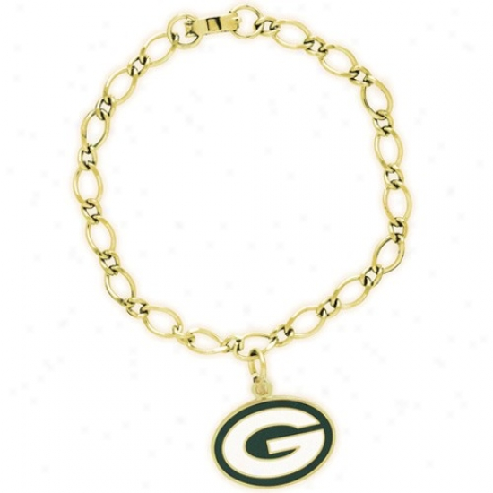 Green Bay Packers Ladies Gold-tone Attraction Bracelet