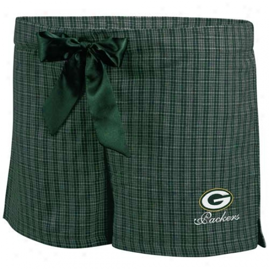 Green Bay Packers Ladies Green Plaid Monday Night Football Boxer Shortd