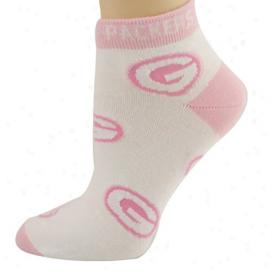 Green Bay Packers Ladies White 6-11 Scallop Team Logo Ankle Socks