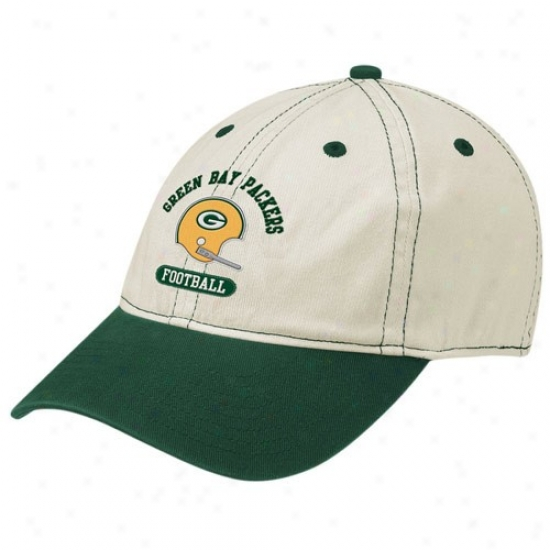 Green Bay Packers Merchandise: Reebok Flourishing Bay Packers Natural Retro Helmet Slouch Flex Fit Hat