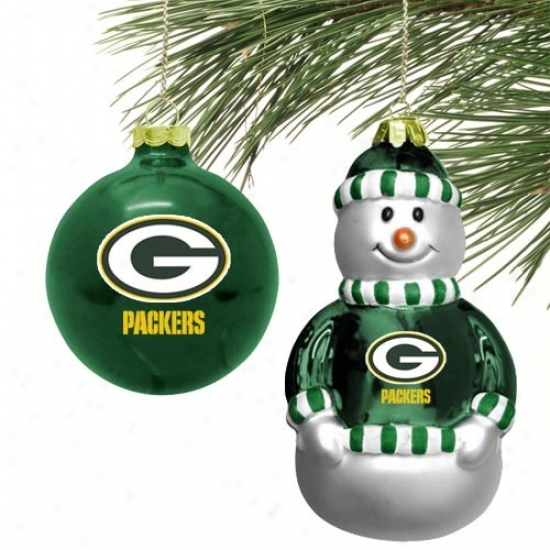 Green Bay Packers Mini Blown Glass Embellishment Set