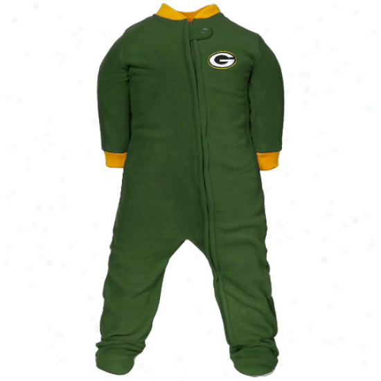 Flourishing Bay Packers Newborn Green Fleece Footed Sleeper