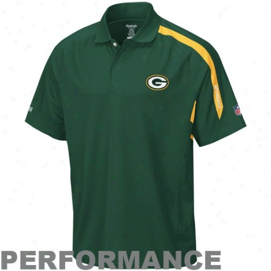 Green Bay Packers Polo : Reebok Green Bay Packers Green Contact Performance Polo