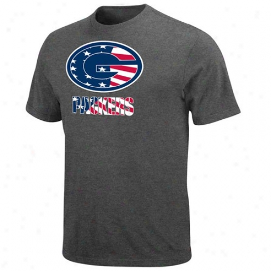 Green Bay Packers Shirt : Green Bay Packers Charcoal Stars & Stripes Logo Shirt
