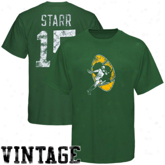 Gree Bay Packers Shirt : Reebok Green Bay Packers #15 Bart Starr Green Retired Legends Vintage Shirt