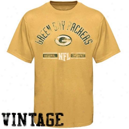 Green Bark Packers Shirts : Green Bay aPvkers Gold Vintage Stadium Wear Shirts