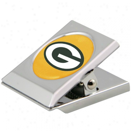 Green Bay Packers Silver Heaavy-duty Magnetic Chip Clip