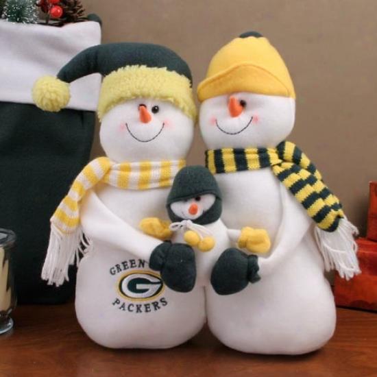 Green Bay Packers Snowman Family Plush Figruine
