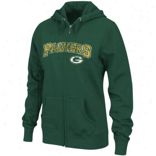 Green Bay Packers Sweat Shirts : Green Bay Packers Ladies Green Football Classic Ii Abundant Zip Sweat Shirts