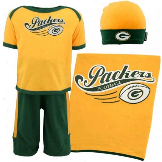 Green Bay Packers Sweatshirt : Reebok Green Bay Packers Infant Gold Home Team 4-piece Box Set