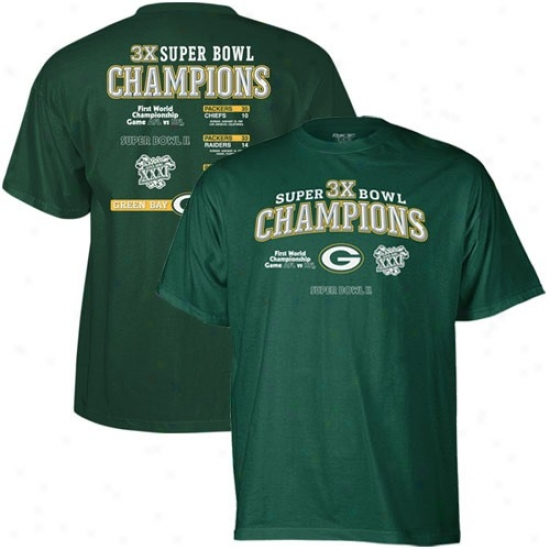 Green Bay Packers T Shirt : Reebok Green Bay Packers Green Three-time Super Bowl Champions T Shirt