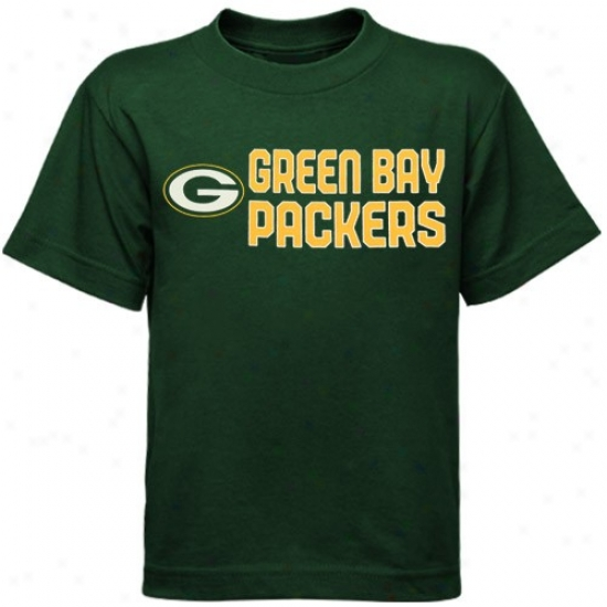 Green Bay-tree Packers T Shirt : Reebok Green Bay Packers Preschool Green Summer Stack T Shirt