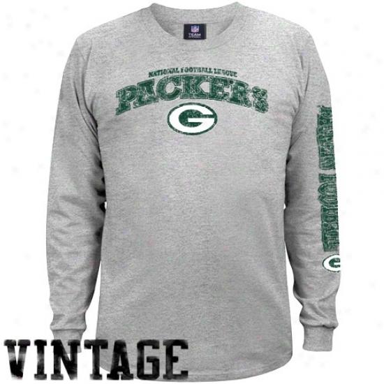 Green Check Packers Tees : Green Bay Packers Ash Gridiron Tough Vintage Long Sleeve Tees