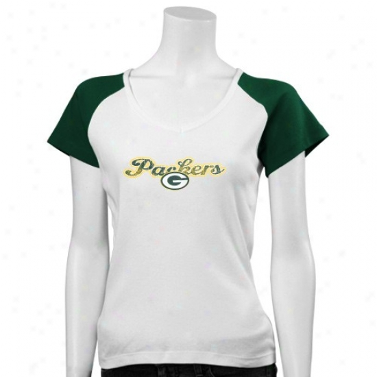 Green Bay Pacjers Tees : Green Bay Packers Ladies White Scriptd Logo Ragllan Tees