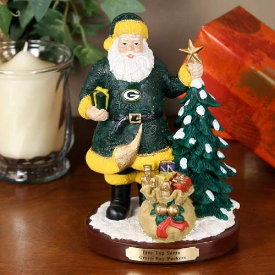Verdant Bay Packers Tree Top Santa Figurine