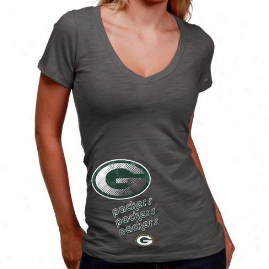 Green Bay Packers Tshirt : Green Laurel-crown Packers Ladies Graphite Triple Play V-neck Slub Tshirt
