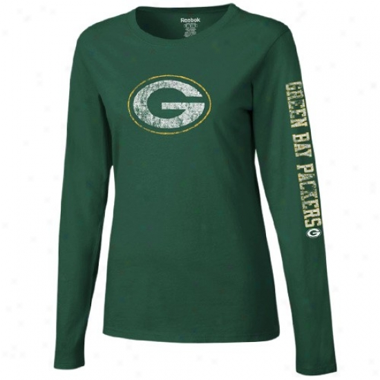 Green Bay Packers Tshirt : Reebok Lawn Bay Packers Ladies Green Giant Logo Overmuch Long Sleeve Tshirt