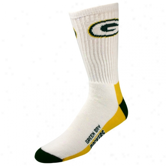 Green Bay Packers White Calf Socks