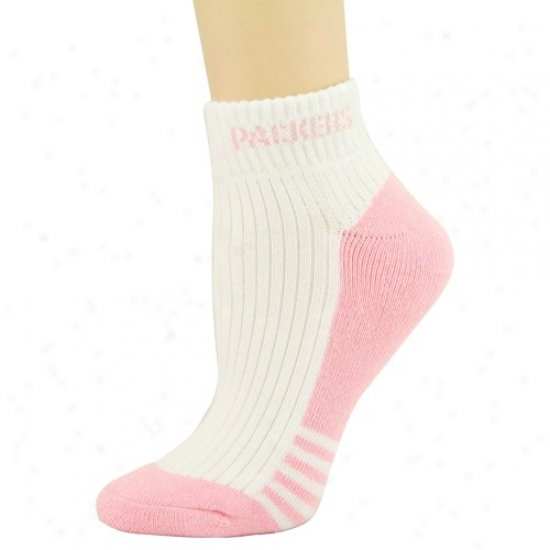 Green Bay Packers Whitd-pink Ladiees Low Cut Socks
