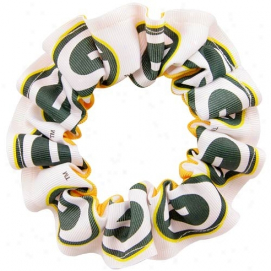 Green Bay Packers White Team Logo HairS crunchie