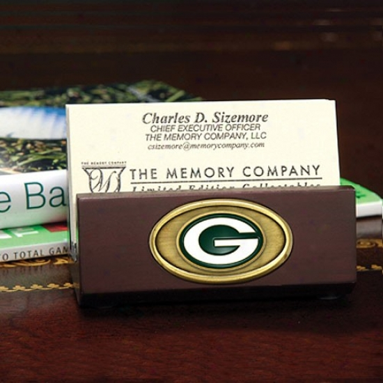 Green Bay Packers Wooden Business Card Holder