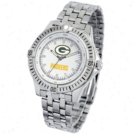 Green Bark Packers Wrist Watch : Green Bay Packers Stainless Steel Prime Time Sport Wrist Watch