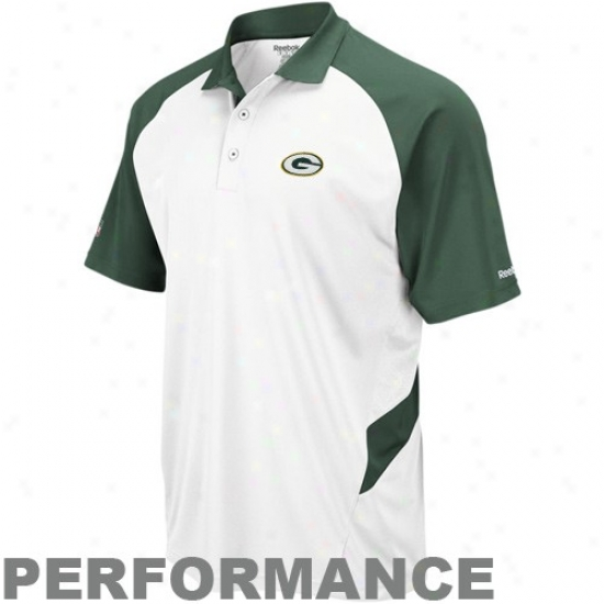 Green Bay Polos : Reebok Green Bay White-green Sideline Statement Performance Polos