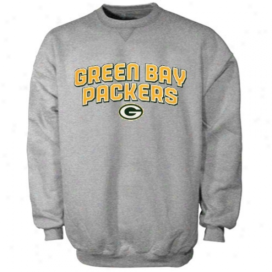 Green Bay Sweat Shirts : Reebok Green Bay Ash Double Arch Crew Sweat Shirts