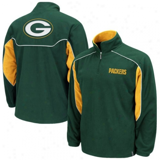 Green Bay Sweat Shirts : Reebok Green Bay Unseasoned Decisive Score 1/4 Zip Pullover Sweat Shirts Jacket