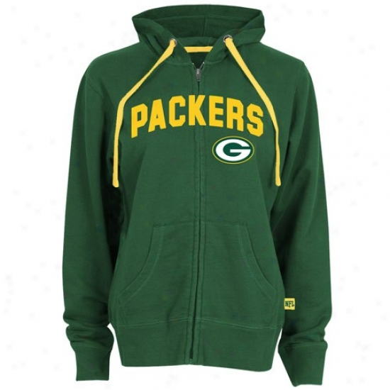 Green Bag Sweatshirts : Green Bay Ladies Gre3n Pure Heritage Full Zip Sweatshirts