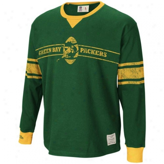 Green Bay T-shirt : Mitchell & Ness Green Bay Green First Down Long Sleeve Throwback T-shirt