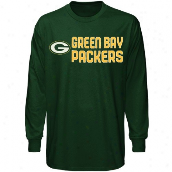 Unseasoned Bay T Shirt : Reebok Green Bay Youyh Green Summer Stack Long Sleeve T Shirt