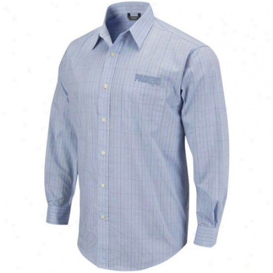 Green Bay Tee : Reebok Green Bay Litht Blue Long Sleeve Woven Button Down Tee