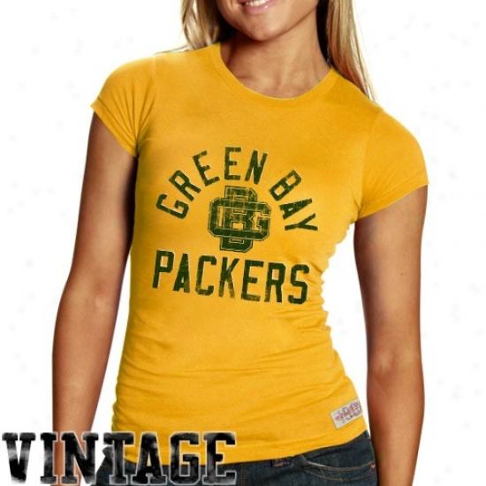 Green Bay Tshirts : Mitchell & Ness Green Bay Ladies Gold Juniors Vintage Graphic Premium Tshirts