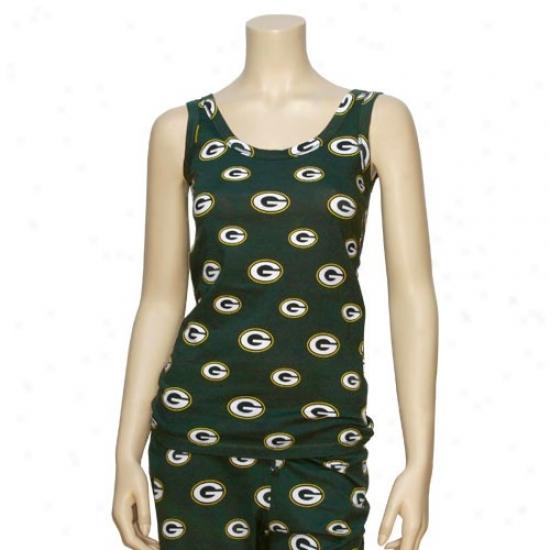 Green Bay Tshirts : Reebok Green Bay Ladies Green Tandem Tank Top