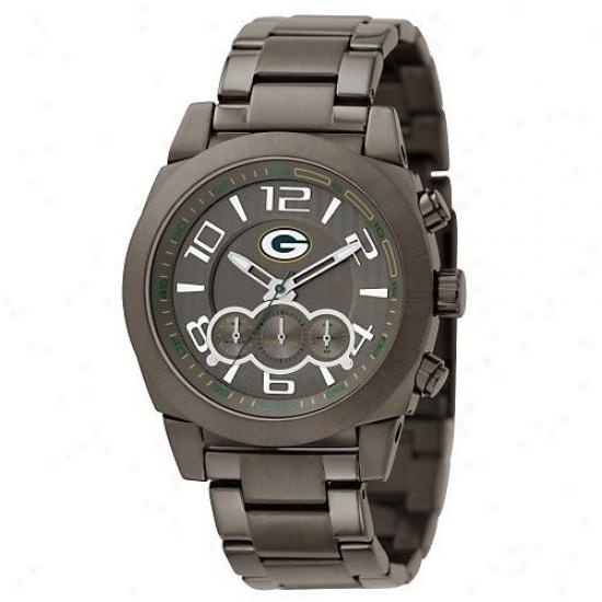 Green Bay Watch : Fossil Green Bay Men's Black Stwinless Steel Nfl Sip Obstruct Watch