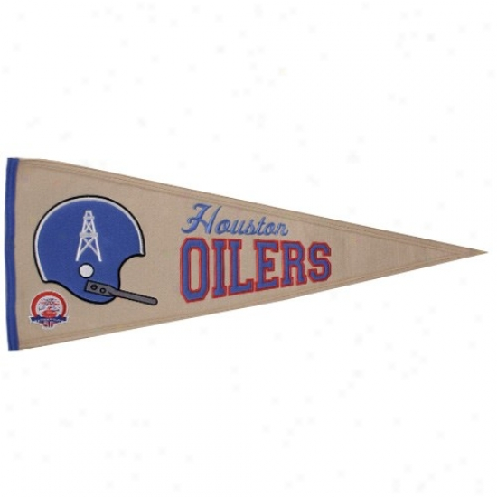 Houston Oilers Natural 13'' X 32'' Afl Throwback Wool Trqditions Pennant