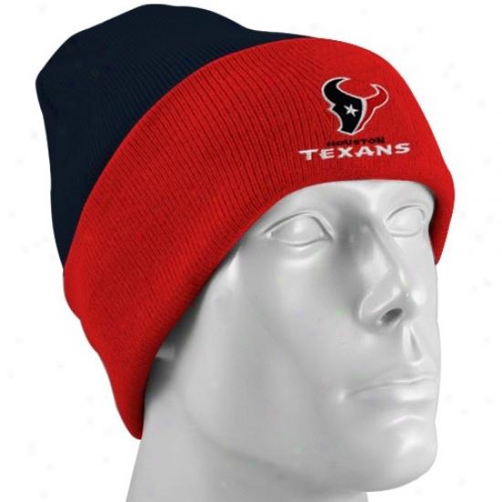 Houstno Texan Gear: Reebok Houston Texan Red-black Basic Logo Knit Beanie