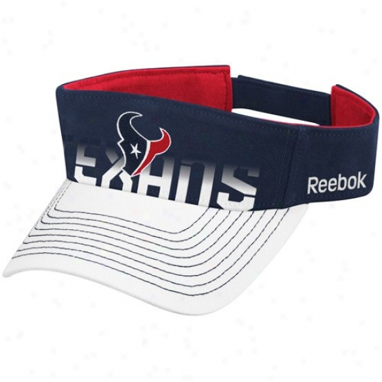 Houston Texan Hat : Reebok Houston Texan Navy Blue-white Players Visor