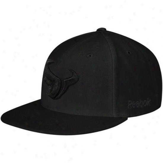 Houston Texan Hats : Reebok Houston Texan Bllack Fashion Fitted Hats