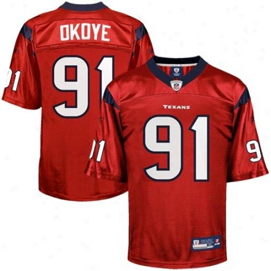 Houstoh Texan Jeresy : Reebok Amobi Okoye Houston Texan Replica Jersey - Red Alternate
