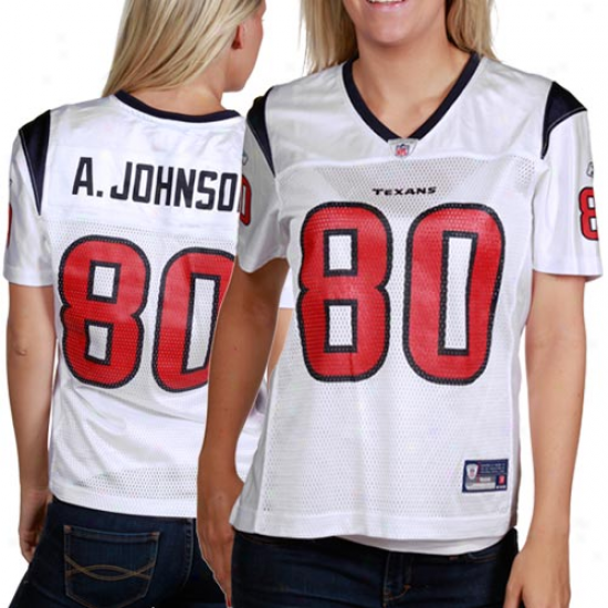 Houston Texan Jersey : Reebok Andre Johnson Houston Texan Ladies Repluca Jersey - White