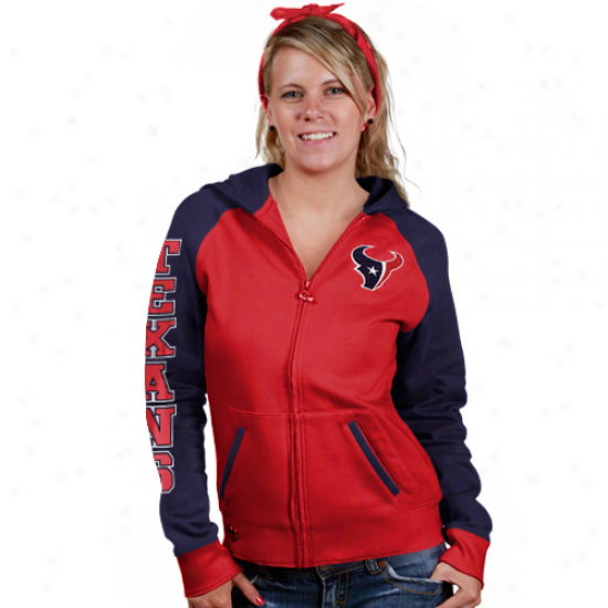 Houston Texan Sweatshirts : Reebok Houston Texan Ladies Red Letterman Full Zip Sweatshirts