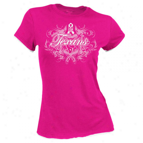 Houston Texan T-shirt : Reebook Houston Texan Ladies Pink Breast Cancer Awareness Flo8rish Tissue Premium T-shirt