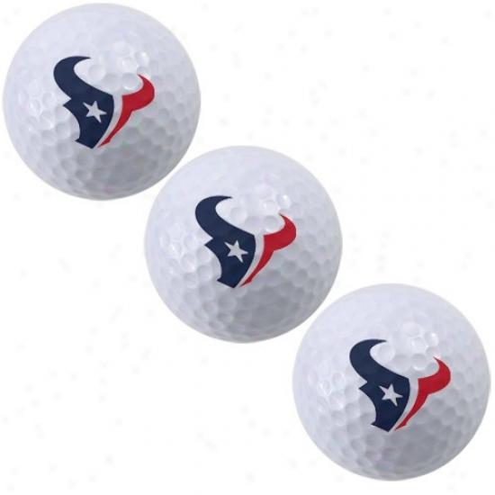 Houston Texans 3-pack Of Team Logo Golf Balls