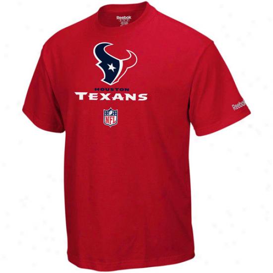 Houston Teexans Apparel: Reebok Houston Texans Red Sideline Authentic T-shirt