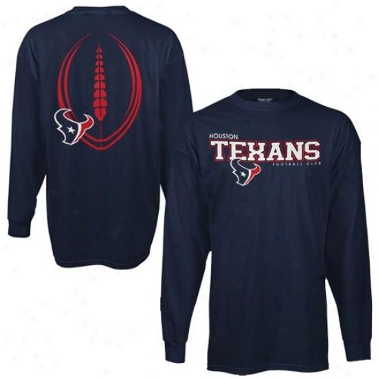 Houston Texans Attire: Reebok Houston Texnas Navy Blue Ballistic Long Sleeve T-shirt