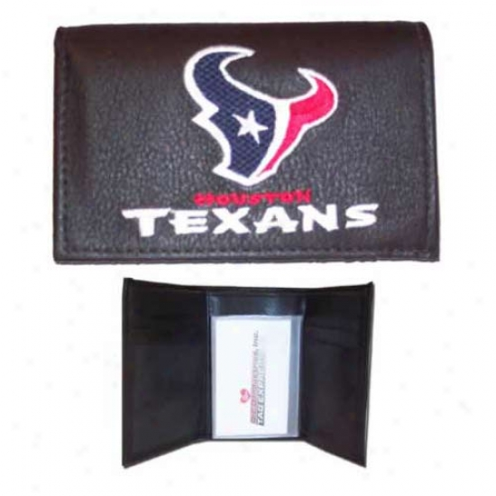 Houston Texans Black Emnroidered Leathher Trifold Wallet