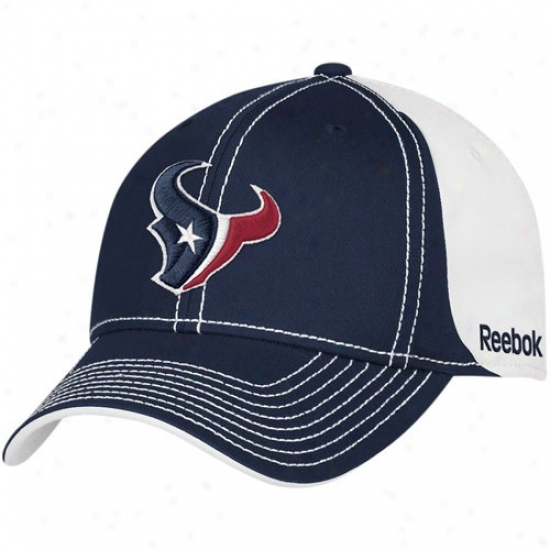 Houston Texans Hat : Reebok Houston Texas Navy Blue-white 2010 Coacjes Adjustable Hat